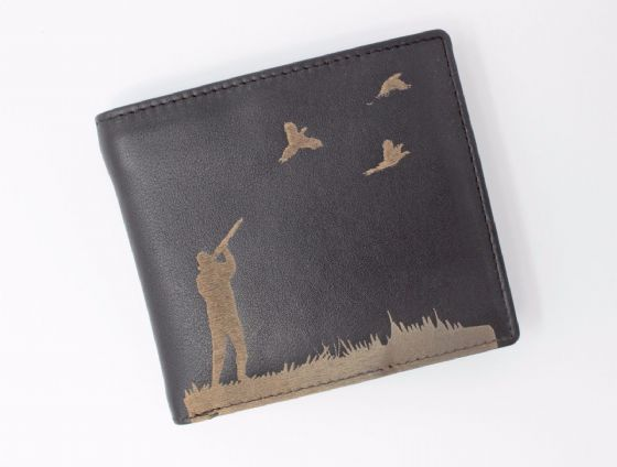 Engraved Leather Mens Wallet Shooting Hunting Luxury Quality with Cards Only 005